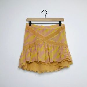 Marc Jacobs Silk Pink and Yellow Skirt
